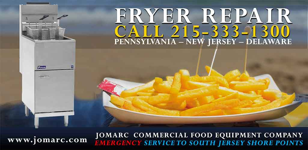 Fryer Repair New Jersey Cherry Hill Atlantic City Cape May Jomarc Commercial Food Equipment Repair all makes and models of Electric Fryers Countertop Gas Fryers & Commercial Deep Gas Floor Electric Floor Split Pot Electric Deep Electric Fryers with Filters, Split Pot Gas Deep Fryers