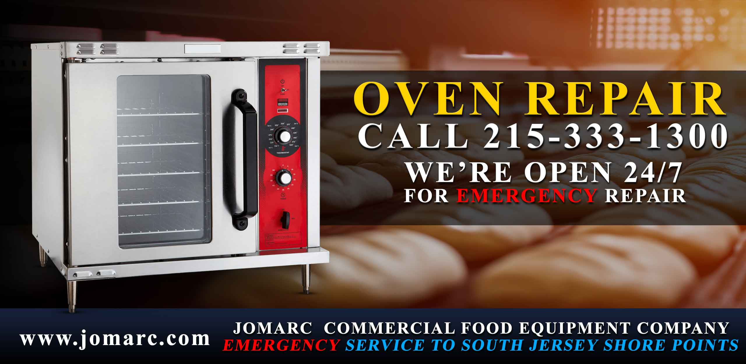 Jomarc services all brands and models of commercial ovens: Alto-Shaam, Amana, Avantco, Axis, Bakers Pride, Blodgett, Cres Cor, Convotherm, Cooking Performance Group, Doyon, Galaxy Garland / US Range, Global Solutions by Nemco, Merrychef, NU-VU, Rational Solwave TurboChef Vollrath Vulcan Waring Wells
